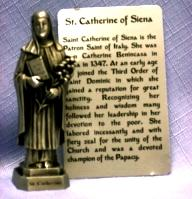 PEWTER STATUE: Saint Catherine of Siena. JC-3036-E.