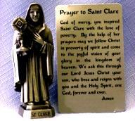 PEWTER STATUE: Saint Clare.  JC-3049-E.