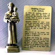 PEWTER STATUE: Saint Anthony.