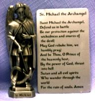 PEWTER STATUE: Saint Michael the Archangel. JC-3005-E.