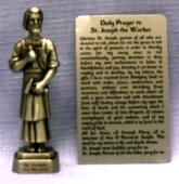 PEWTER STATUE: Saint Joseph the Worker.  JC-3003-E.