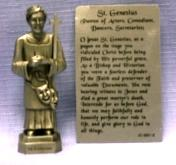 PEWTER STATUE: Saint Genesius (Patron of Actors, Comedians, Dancers, Secretaries).  JC-3051-E.