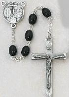 DELUXE BLACK WOOD ROSARY.  137D-BK/F.