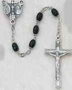 DELUXE BLACK GLASS ROSARY.  136D/F.