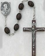 DELUXE BROWN ENAMEL ROSARY.  537D-BR/F.