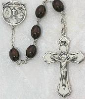 DELUXE BROWN WOOD ROSARY.  139D-BR/F.
