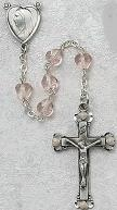 PINK GLASS HEART ROSARY. 822D-RSE/F.