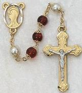RED/PEARL ROSARY. 452H/F.