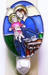ST. JOSEPH IMITATION STAINED GLASS NIGHT-LIGHT.
