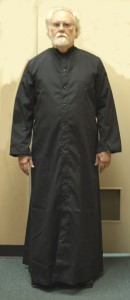 BLACK CASSOCK, SNAP FRONT, STYLE 216S Full Cut size 17x
