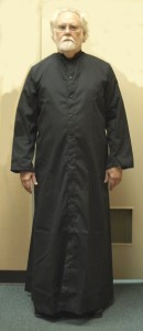BLACK CASSOCK, SNAP FRONT, STYLE 217S EXTRA COMFORT CUT size 17x
