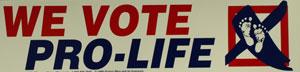 PRO-LIFE BUMPER STICKER We Vote Pro-Life.