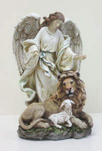 PEACEFUL LION AND LAMB STATUE #41256
