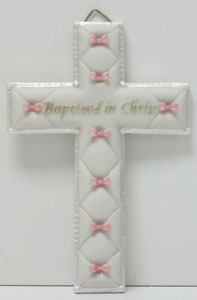 BAPTIZED IN CHRIST CROSS, PINK (42829)