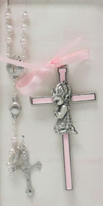BABY CROSS AND ROSARY SET. GIRL. No. BS36