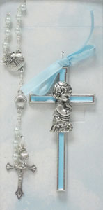 BABY CROSS AND ROSARY SET. BOY. No.BS35