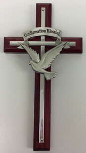 WOODEN CONFIRMATION CROSS WITH HOLY SPIRIT. No. 77-12