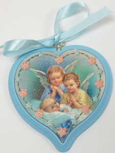 BLUE HEART SHAPED CRIB MEDAL No. 2755-04