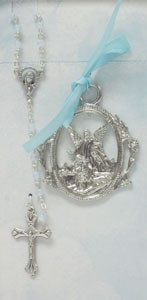 CRIB MEDAL AND BLUE ROSARY SET No. BS16
