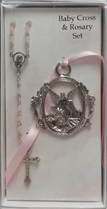 CRIB MEDAL  AND PINK  ROSARY SET No. BS17