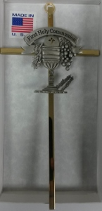 FIRST COMMUNION CROSS WITH CHALICE AND HOST  (75-14)