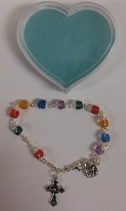 MULTI-COLORED FIRST COMMUNION BRACELET No. 48-100