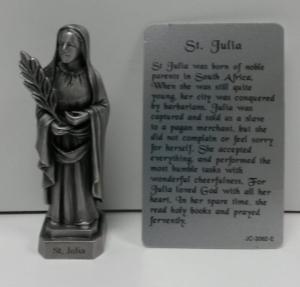 PEWTER STATUE: Saint Julia. JC-3062-E.